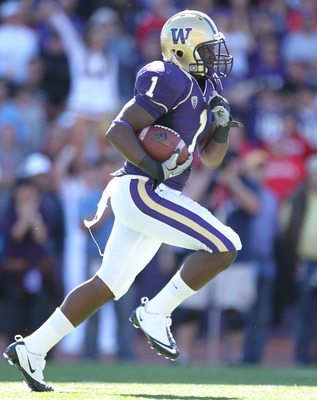 SEATTLE - SEPTEMBER 18: Kick returner Sean Parker #1 of the Washington Huskies rushes against the Nebraska Cornhuskers on September 18, 2010 at Husky Stadium in Seattle, Washington. (Photo by Otto Greule Jr/Getty Images)