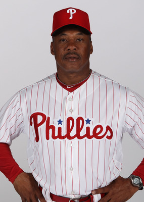 CLEARWATER, FL - FEBRUARY 22: Juan Samuel #12 of the Philadelphia Phillies poses for a photo during Spring Training Media Photo Day at Bright House Networks Field on February 22, 2011 in Clearwater, Florida.  (Photo by Nick Laham/Getty Images)