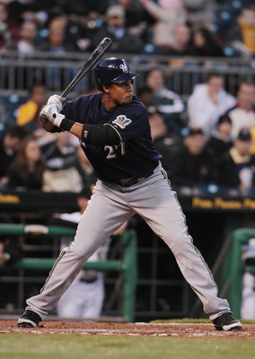 PITTSBURGH, PA - APRIL 13:  Carlos Gomez #27 of the Milwaukee Brewers at bat during their game against the Pittsburgh Pirates at PNC Park on April 13, 2011 in Pittsburgh, Pennsylvania.  (Photo by Scott Halleran/Getty Images)