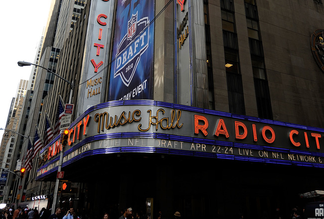 NEW YORK - APRIL 22:  A exterior view of Radio City Music Hall during the 2010 NFL Draft at Radio City Music Hall on April 22, 2010 in New York City.  (Photo by Jeff Zelevansky/Getty Images)