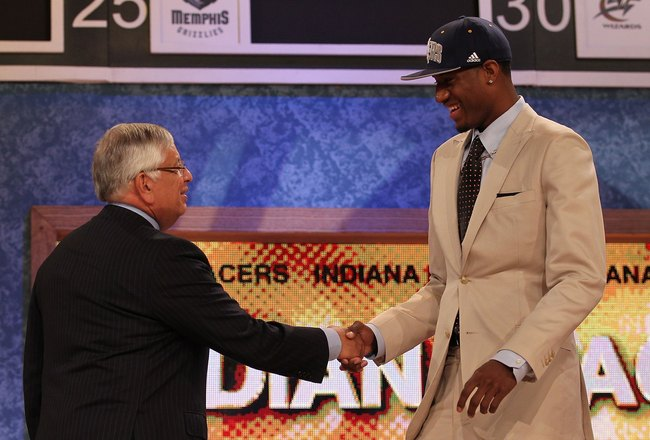 NEW YORK - JUNE 24:  Paul George stands with NBA Commisioner David Stern after being drafted tenth by  The Indiana Pacers at Madison Square Garden on June 24, 2010 in New York, New York.  (Photo by Al Bello/Getty Images)