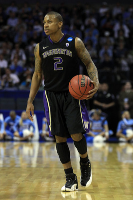 CHARLOTTE, NC - MARCH 20:  Isaiah Thomas #2 of the Washington Huskies moves the ball while taking on the North Carolina Tar Heels during the third round of the 2011 NCAA men's basketball tournament at Time Warner Cable Arena on March 20, 2011 in Charlotte