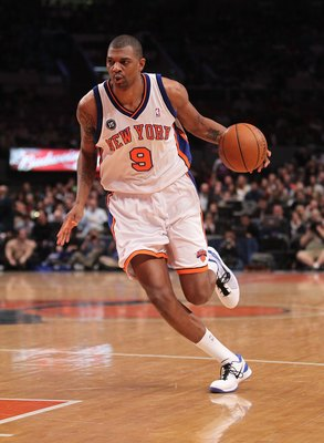 NEW YORK - MARCH 19:  Jonathan Bender #9 of the New York Knicks dribbles the ball against the Philadelphia 76ers at Madison Square Garden on March 19, 2010 in New York City. NOTE TO USER: User expressly acknowledges and agrees that, by downloading and or