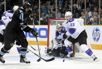 SAN JOSE, CA - APRIL 16: Dustin Brown #23 of the Los Angeles Kings gets called for a tripping penalty on Joe Pavelski #8 of the San Jose Sharks in Game Two of the Western Conference Quarterfinals during the 2011 NHL Stanley Cup Playoffs at the HP Pavilion