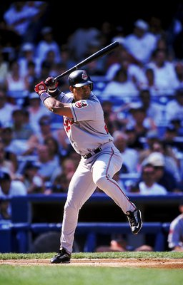24 Jul 1999: Manny Ramirez #24 of the Cleveland Indians steps into the swing during the game against the New York Yankees at Yankee Stadium in the Bronx. The Yankees defeated the Indians 21-1. Mandatory Credit: Ezra O. Shaw  /Allsport