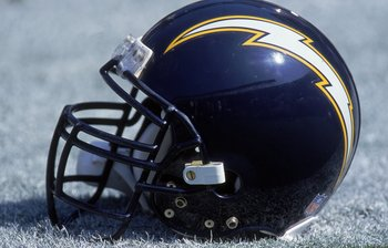 8 Oct 2000:  A close up view of a helmet of the San Diego Chargers taken on the field during the game against the Denver Broncos at the Qualcomm Stadium in San Diego, California. The Broncos defeated the Chargers 21-7.Mandatory Credit: Stephen Dunn  /Alls