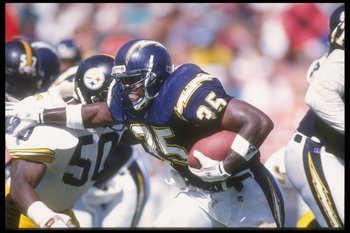 20 Sep 1992:  Running back Marion Butts #35 of the San Diego Chargers pushes through in a drive during a game with the Pittsburgh Steelers in the Jack Murphy Stadium in San Diego, California. The Steelers won the game, 23-6.  Mandatory Credit: Stephen Dun