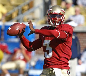 ATLANTA - NOVEMBER 1:  Quarterback E.J. Manuel #3 of the Florida State Seminoles throws a practice pass before the game against the Georgia Tech Yellow Jackets at Bobby Dodd Stadium at Historic Grant Field on November 1, 2008 in Atlanta, Georgia.  Georgia