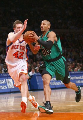 NEW YORK - FEBRUARY 06:  Ray Allen #20 of the Boston Celtics moves for the ball against David Lee #42 of the New York Knicks at Madison Square Garden on February 6, 2009 in New York City. NOTE TO USER: User expressly acknowledges and agrees that, by downl