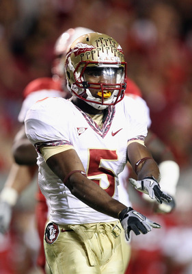 RALEIGH, NC - OCTOBER 28:  Greg Reid #5 of the Florida State Seminoles against the North Carolina State Wolfpack during their game at Carter-Finley Stadium on October 28, 2010 in Raleigh, North Carolina.  (Photo by Streeter Lecka/Getty Images)