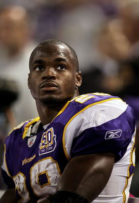 MINNEAPOLIS - OCTOBER 17:  Running back Adrian Peterson #28 of the Minnesota Vikings looks on during the game against the Dallas Cowboys at Mall of America Field on October 17, 2010 in Minneapolis, Minnesota.  The Vikings defeated the Cowboys 24-21.  (Pho