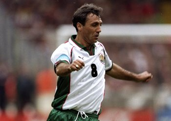 10 Oct 1998:  Hristo Stoichkov of Bulgaria in action during the European Championship qualifier against England at Wembley in London. The game ended 0-0. \ Mandatory Credit: Ben Radford /Allsport