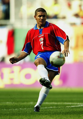 SUWON - JUNE 13:  Rolando Fonseca of Costa Rica in action during the Group C match against Brazil of the World Cup Group Stage  played at the Suwon World Cup Stadium, Suwon, South Korea on June 13, 2002.  Brazil won the match 5-2. (Photo by Brian Bahr/Get