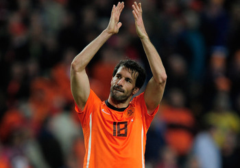 AMSTERDAM, NETHERLANDS - MARCH 29:  Ruud van Nistelrooy of the Netherlands looks on during the Group E, EURO 2012 Qualifier between Netherlands and Hungary at the Amsterdam Arena on March 29, 2011 in Amsterdam, Netherlands.  (Photo by Jamie McDonald/Getty