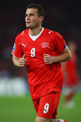 BASLE, SWITZERLAND - SEPTEMBER 05:  Alexander Frei of Switzerland during the FIFA 2010 World Cup Qualifying Group 2 match between Switzerland and Greece at the St.Jakob-Park Stadium on September 5, 2009 in Basle, Switzerland.  (Photo by Michael Steele/Get