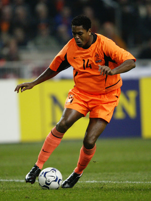 AMSTERDAM - NOVEMBER 19:  Patrick Kluivert of Holland runs with the ball during the UEFA European Championships 2004 Play-Off second leg match between Holland and Scotland held on November 19, 2003 at The Amsterdam ArenA, in Amsterdam, Holland. Holland wo
