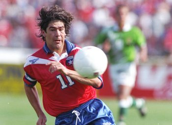 16 Nov 1997:  Marcelo Salas of Chile in action during the World Cup qualifier against Bolivia in Santiago, Chile. Chile won 3-0. \ Mandatory Credit: Stu Forster /Allsport