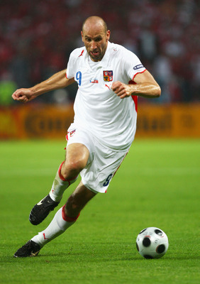 GENEVA - JUNE 15: Jan Koller of Czech Republic runs with the ball during the UEFA EURO 2008 Group A match between Turkey and Czech Republic at Stade de Geneve on June 15, 2008 in Geneva, Switzerland.  (Photo by Laurence Griffiths/Getty Images)