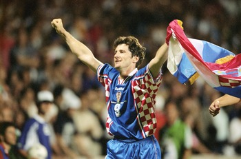 4 Jul 1998:  Davor Suker of Croatia celebrates after the World Cup quarter-final match against Germany at the Stade Gerland in Lyon, France. Croatia won 3-0. \ Mandatory Credit: Shaun Botterill /Allsport