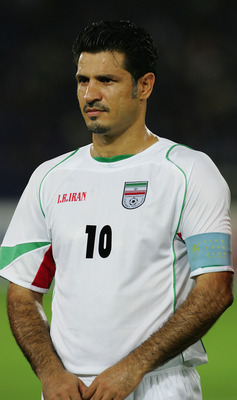 YOKOHAMA, JAPAN - AUGUST 17:  A portrait of Ali Daei of Iran prior to the 2006 Fifa World Cup Asian Qualifiers match between Japan and Iran at the International Stadium on August 17, 2005 in Yokohama, Japan.  (Photo by Laurence Griffiths/Getty Images)
