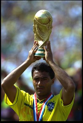 17 JUL 1994:  ROMARIO OF BRAZIL HOLDS THE WORLD CUP OVER HIS HEAD AFTER BRAZIL DEFEATED ITALY 3-2 IN A PENALTY SHOOT OUT IN THE WORLD CUP FINAL.