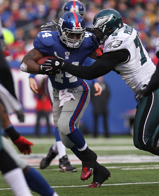 EAST RUTHERFORD, NJ - DECEMBER 19: Ahmad Bradshaw #44  of the New York Giants against the Philadelphia Eagles at New Meadowlands Stadium on December 19, 2010 in East Rutherford, New Jersey.  (Photo by Nick Laham/Getty Images)