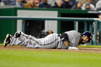 WASHINGTON, DC - APRIL 15:  Prince Fielder #28 of the Milwaukee Brewers reacts after getting hit by a pitch during the game against the Washington Nationals at Nationals Park on April 15, 2011 in Washington, DC. All players, coaches and umpires are wearin