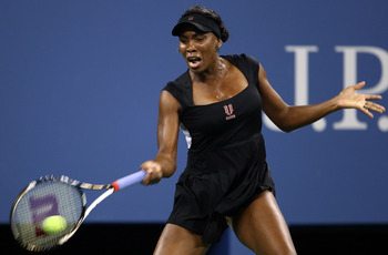 NEW YORK, NY - AUGUST 29:  Venus Williams of the United States returns the ball against Vesna Dolonts of Russia during Day One of the 2011 US Open at the USTA Billie Jean King National Tennis Center on August 29, 2011 in the Flushing neighborhood of the Q