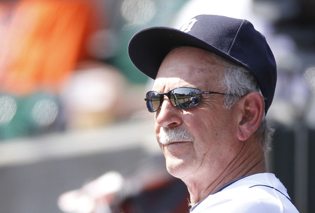 DETROIT, MI - APRIL 10: Jim Leyland manager of the Detroit Tigers looks on from the dugout while playing the Kansas City Royals at Comerica Park on April 10, 2011 in Detroit, Michigan. Kansas City won the game 9-5.  (Photo by Gregory Shamus/Getty Images)