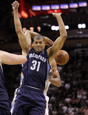 SAN ANTONIO, TX - APRIL 17:  Forward Shane Battier #31 of the Memphis Grizzlies reacts after a win against the San Antonio Spurs in Game One of the Western Conference Quarterfinals in the 2011 NBA Playoffs on April 17, 2011 at AT&amp;T Center in San Antonio,
