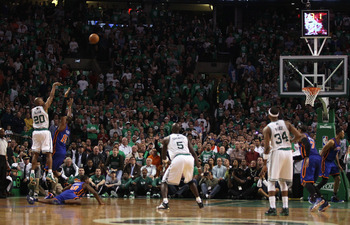BOSTON, MA - APRIL 17:  Ray Allen #20 of the Boston Celtics shoots the game winning shot in the final seconds of the game against the New York Knicks in Game One of the Eastern Conference Quarterfinals in the 2011 NBA Playoffs on April 17, 2011 at the TD