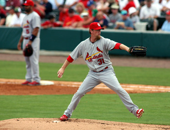 JUPITER, FL - MARCH 06:  Pitcher Ryan Franklin #31  of the St. Louis Cardinals throws against the Florida Marlins at Roger Dean Stadium on March 6, 2011 in Jupiter, Florida.  (Photo by Marc Serota/Getty Images)