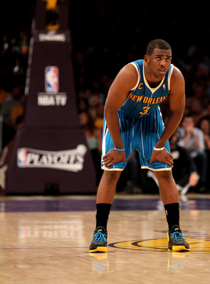 LOS ANGELES, CA - APRIL 17:  Chris Paul #3 of the New Orleans Hornets stands on the court against the Los Angeles Lakers in Game One of the Western Conference Quarterfinals in the 2011 NBA Playoffs on April 17, 2011 at Staples Center in Los Angeles, Calif