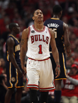 CHICAGO, IL - APRIL 16: Derrick Rose #1 of the Chicago Bulls reacts after missing a three-point shot against the Indiana Pacers in Game One of the Eastern Conference Quarterfinals in the 2011 NBA Playoffs at the United Center on April 16, 2011 in Chicago,