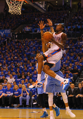 OKLAHOMA CITY, OK - APRIL 17: Kevin Durant #35 of the Oklahoma City Thunder looks to score against Kenyon Martin #4 of the Denver Nuggets in Game One of the Western Conference Quarterfinals in the 2011 NBA Playoffs on April 17, 2011 at the Ford Center in