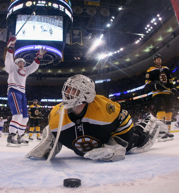 BOSTON, MA - APRIL 16:  Tim Thomas #30 of the Boston Bruins reacts after Yannick Weber #68 of the Montreal Canadiens scored the third goal of the game in Game Two of the Eastern Conference Quarterfinals during the 2011 NHL Stanley Cup Playoffs at TD Garde