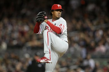 NEW YORK - NOVEMBER 04:  Starting pitcher Pedro Martinez #45 of the Philadelphia Phillies throws a pitch against the New York Yankees in Game Six of the 2009 MLB World Series at Yankee Stadium on November 4, 2009 in the Bronx borough of New York City.  (P