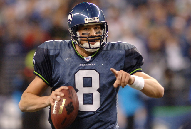 Seattle Seahawk's Matt Hasselbeck in action during the NFC Championship game between the Carolina Panthers and Seattle Seahawks at Qwest Field in Seattle, Washington on January 22, 2006. The Seahawks defeated the Panthers by a score of 34 - 14.  (Photo by