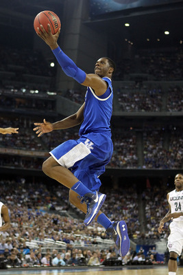 HOUSTON, TX - APRIL 02:  Terrence Jones #3 of the Kentucky Wildcats goes to the hoop against the Connecticut Huskies during the National Semifinal game of the 2011 NCAA Division I Men's Basketball Championship at Reliant Stadium on April 2, 2011 in Housto