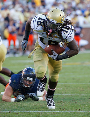 ATLANTA - OCTOBER 09:  Anthony Allen #18 of the Georgia Tech Yellow Jackets rushes for a touchdown against the Virginia Cavaliers at Bobby Dodd Stadium on October 9, 2010 in Atlanta, Georgia.  (Photo by Kevin C. Cox/Getty Images)