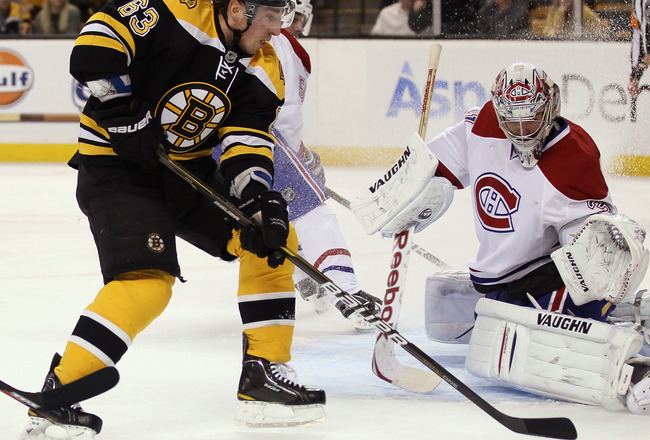 BOSTON, MA - APRIL 14:  Brad Marchand #63 of the Boston Bruins cannot get the puck past Carey Price #31 of the Montreal Canadiens  in Game One of the Eastern Conference Quarterfinals during the 2011 NHL Stanley Cup Playoffs at TD Garden on April 14, 2011