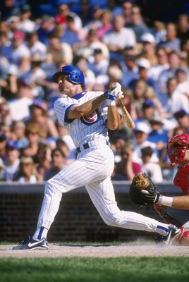 5 Jul 1996: Second baseman Ryne Sandberg of the Chicago Cubs stares into the out field as he follows through on a swing following a hit in the Cubs 3-0 loss to the Cincinnati Reds at Wrigley Field in Chicago, Illinois.  Mandatory Credit: Jonathan Daniel