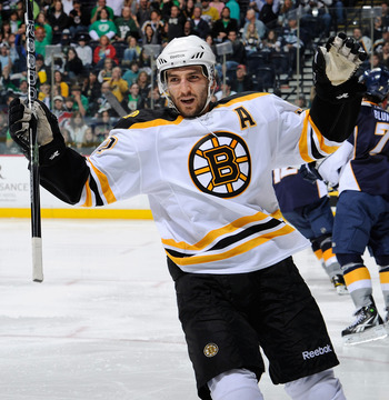 NASHVILLE, TN - MARCH 17:   Patrice Bergeron #37 of the Boston Bruins celebrates after scoring a goal against the Nashville Predators on March 17, 2011 at the Bridgestone Arena in Nashville, Tennessee.  (Photo by Frederick Breedon/Getty Images)