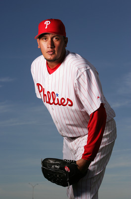 CLEARWATER, FL - FEBRUARY 24:  Freddy Garcia #34 of the Philadelphia Phillies poses during Photo Day on February 24, 2007 at Brighthouse Networks Field in Clearwater, Florida.  (Photo by Al Bello/Getty Images)