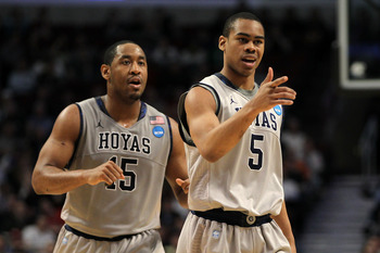 CHICAGO, IL - MARCH 18: Austin Freeman #15 and Markel Starks #5 of the Georgetown Hoyas look on in the second half against the Virginia Commonwealth Rams during the second round of the 2011 NCAA men's basketball tournament at the United Center on March 18
