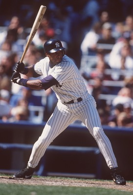 27 Apr 1996:  Outfielder Bernie Williams of the New York Yankees stares back at the mound as he awaits the ball during an at-bat in the Yankees' 4-3 loss to the Minnesota Twins at Yankee Stadium in New York, New York.   Mandatory Credit: Al Bello/ALLSPORT