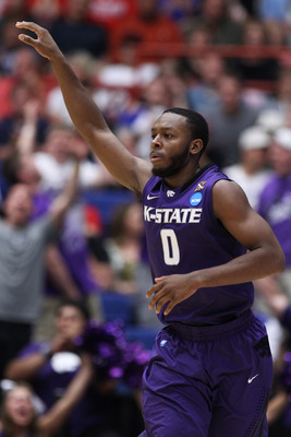 TUCSON, AZ - MARCH 19:  Jacob Pullen #0 of the Kansas State Wildcats celebrates during theior game against the Wisconsin Badgers during the third round of the 2011 NCAA men's basketball tournament at McKale Center on March 19, 2011 in Tucson, Arizona.  (P