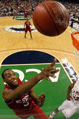 GREENSBORO, NC - MARCH 10:  C.J. Leslie #5 of the North Carolina State Wolfpack shoots against the Maryland Terrapins during the second half of the game in the first round of the 2011 ACC men's basketball tournament at the Greensboro Coliseum on March 10,