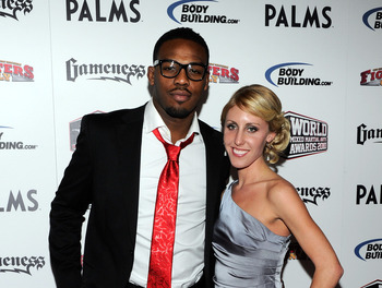 LAS VEGAS, NV - DECEMBER 01:  Mixed martial artist Jon Jones (L) and his girlfriend Jessie Moses arrive at the third annual Fighters Only World Mixed Martial Arts Awards 2010 at the Palms Casino Resort December 1, 2010 in Las Vegas, Nevada.  (Photo by Eth