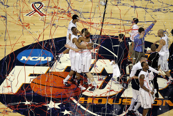 HOUSTON, TX - APRIL 04:  The Connecticut Huskies react after defeating the Butler Bulldogs to win the National Championship Game of the 2011 NCAA Division I Men's Basketball Tournament by a score of 53-41 at Reliant Stadium on April 4, 2011 in Houston, Te